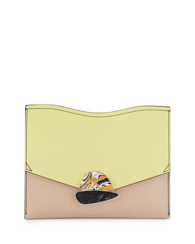Curl Medium Colorblock Clutch Bag, Optic White/Pale Citrus/Sand
