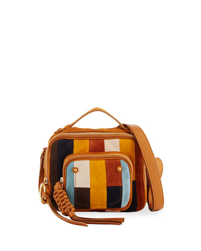 Patti Camera Patch Crossbody Bag, Dark Orange