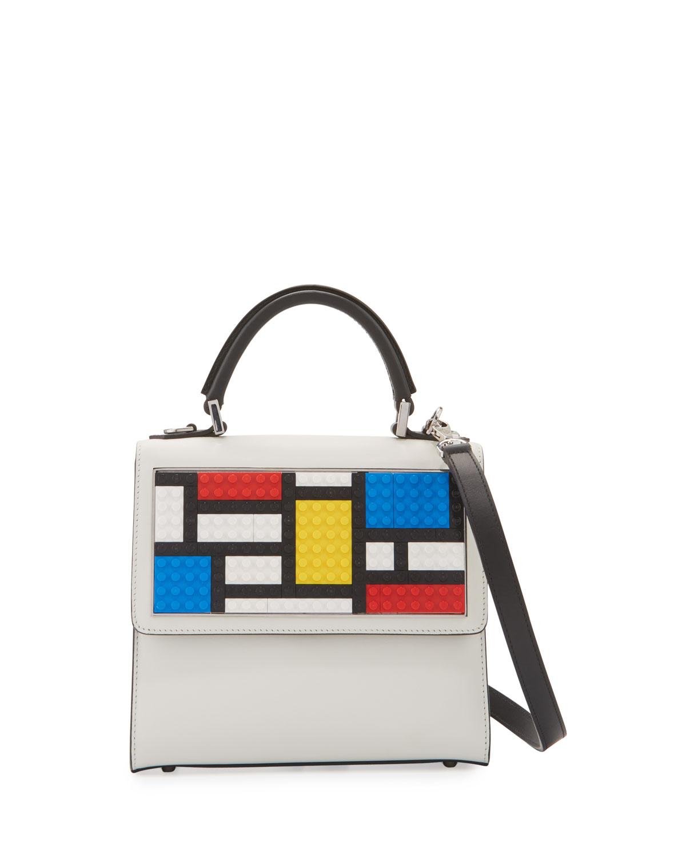 Mini Alex Mondrian Shoulder Bag, White/Black