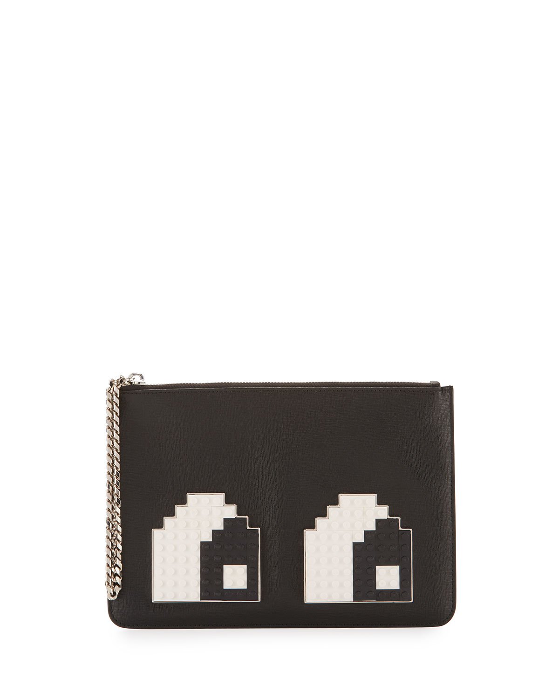 Eyes Small Envelope Clutch Bag, Black/White