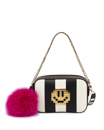 Roy Metal Smile Crossbody Bag, Black/Multi