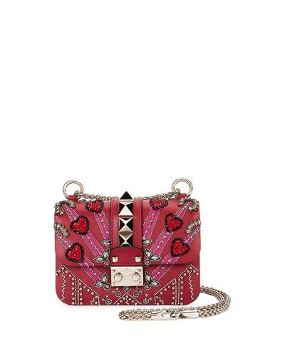 Lock Mini Love Blade Shoulder Bag, Red