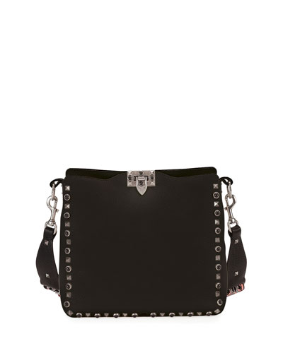 Rockstud Rolling Small Flip-Lock Hobo Bag, Black