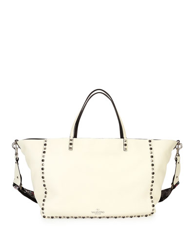 Rockstud Rolling Medium Guitar-Strap Tote Bag, Ivory
