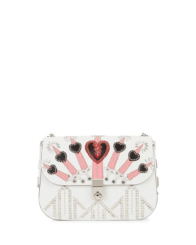 Love Blade Embroidered Shoulder Bag, White/Multi