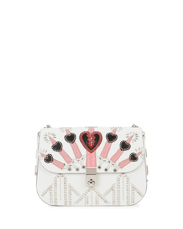 Love Blade Embroidered Shoulder Bag, White/Multi