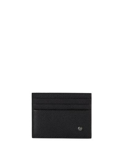 Caviar Leather Card Case, Black