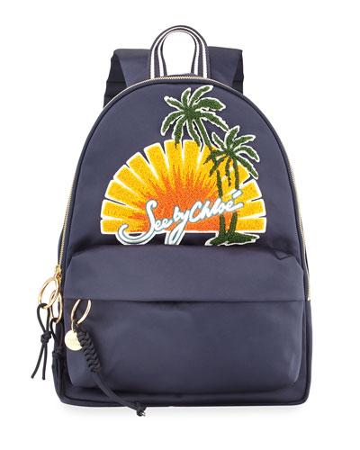 Sun Nylon Backpack, Navy/Multi