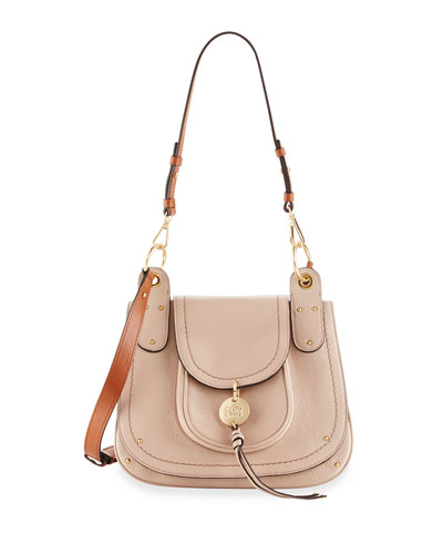 Leather Flap Shoulder Bag, Nude