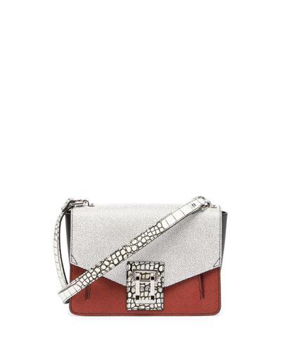 Hava Colorblock Leather Shoulder Bag, White/Red