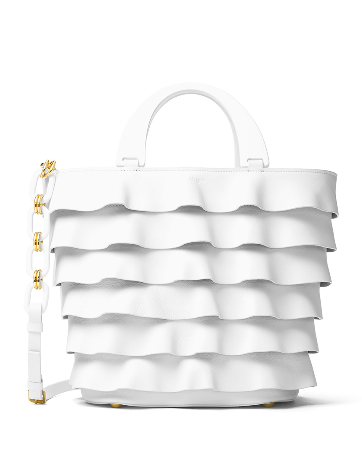 Stanwyck Ruffled Leather Tote Bag, White