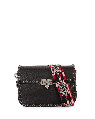 Rockstud Rolling Medium Love Blade Guitar-Strap Shoulder Bag, Black