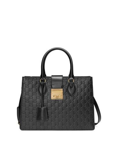 Padlock Small Guccissima Top-Handle Tote Bag, Black