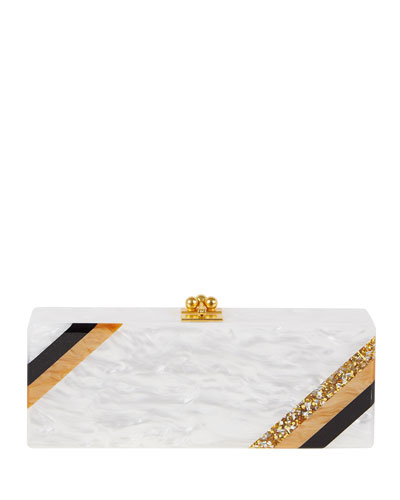 Flavia Diagonal Stripe Clutch Bag, White