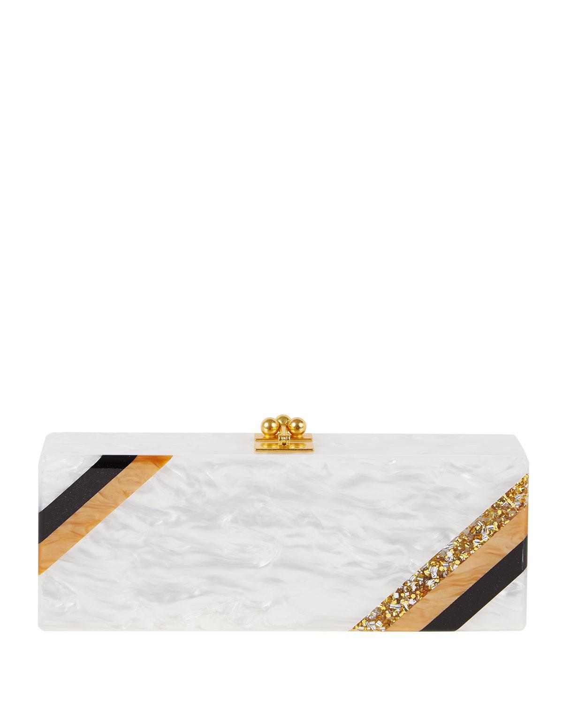 Flavia Diagonal Stripe Clutch Bag, White