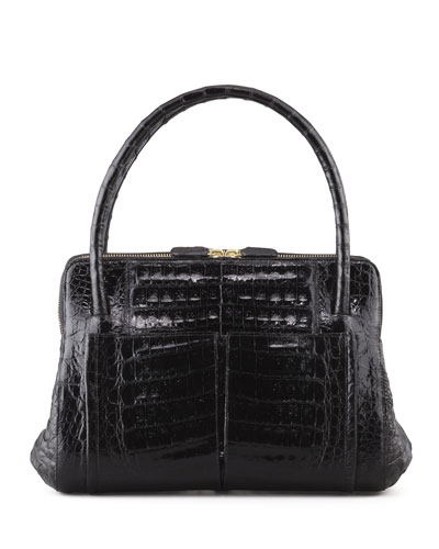 Linda Small Crocodile Satchel Bag, Black