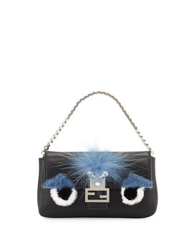 Baguette Micro Monster Eyes Fur Bag, Black