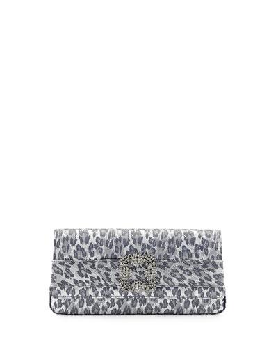 Gothisi Leopard Savage Clutch Bag, Silver/Black