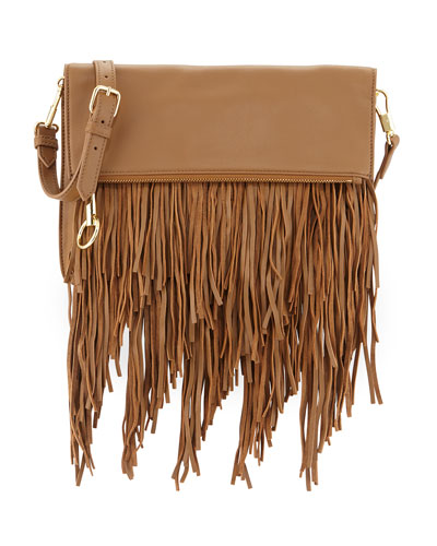 Andrew Fold-Over Fringe Clutch Bag, Camel