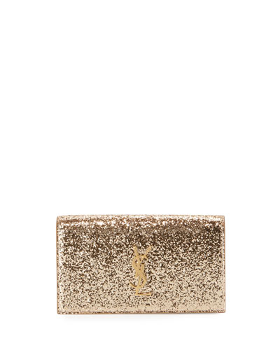 Monogram Glitter Clutch Bag, Gold
