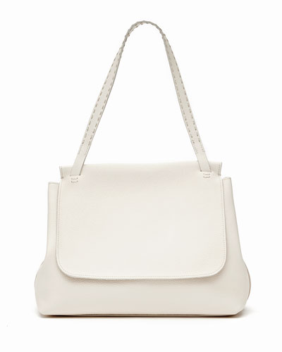 Sidekick Fine-Grain Leather Shoulder Bag, Pearl