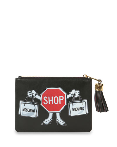 Shop Sign Printed Leather Clutch Bag, Black/Red