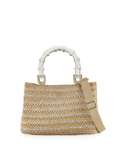 Leila Acrylic-Handle Tote Bag, Peanut/Silver/Gold
