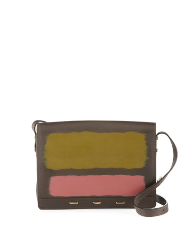 Pulce XL Vitello Leather Crossbody Bag, Brown/Multi