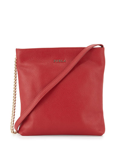 Julia Small Leather Crossbody Bag, Cabernet