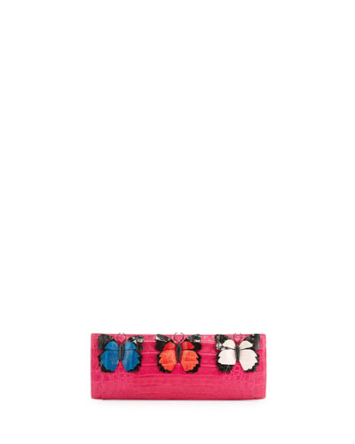 Butterfly Crocodile Razor Clutch Bag, Pink/Multi