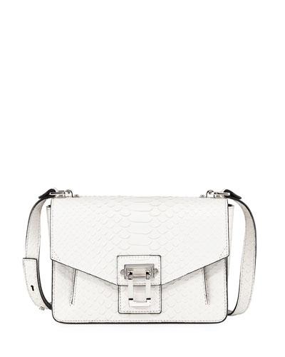 Hava Matte Python Shoulder Bag, White