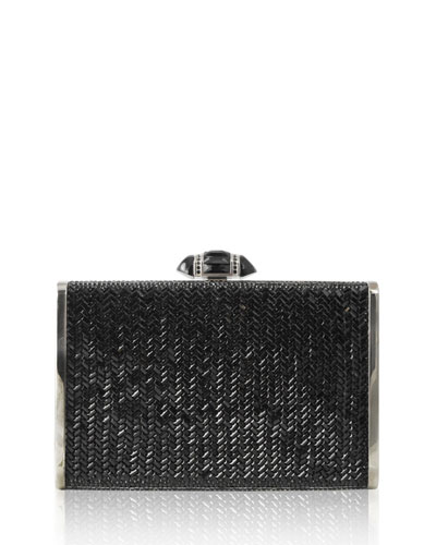 Herringbone Tall Rectangle Clutch Bag, Jet
