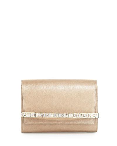 Bow Crystal-Bar Clutch Bag, Sand
