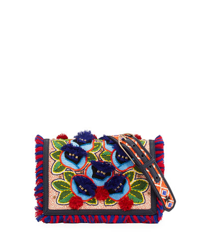 Embroidered Floral Flap Crossbody Bag