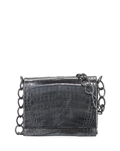 Small Metallic Crocodile Chain Shoulder Bag