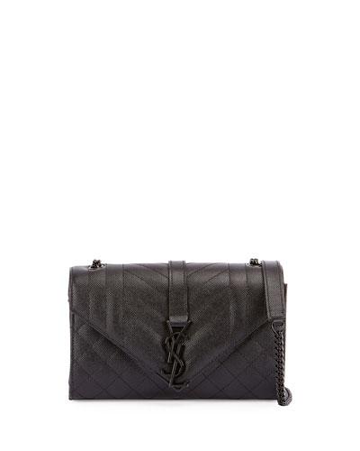 Monogram Small Mixed-Matelassé Chain Shoulder Bag, Black