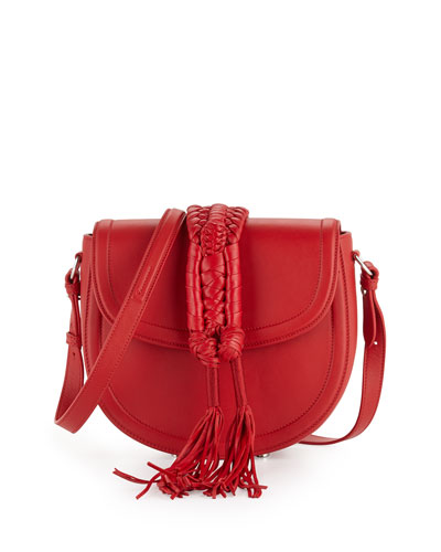 Ghianda Saddle Knot Small Leather Bag, Red