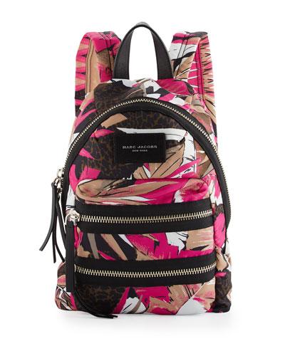 Palm-Print Nylon Biker Mini Backpack, Pink Multi