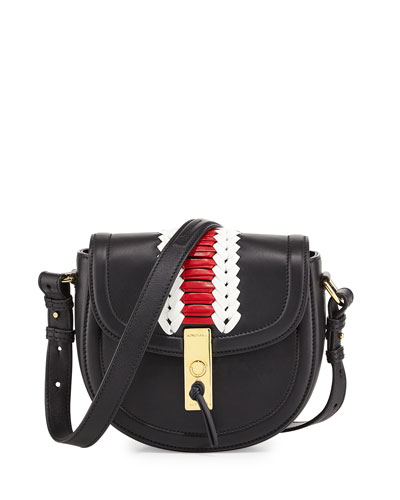 Ghianda Mini Woven Leather Saddle Bag, Black