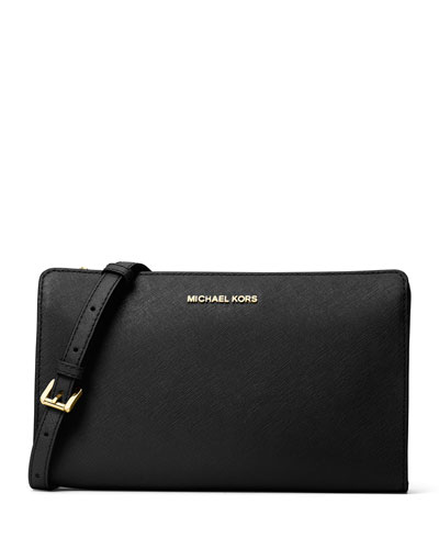 Jet Set Large Leather Crossbody Clutch Bag
