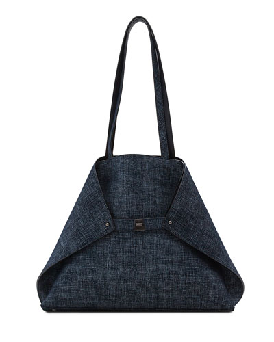 Ai Medium Reversible Shoulder Bag, Dark Blue