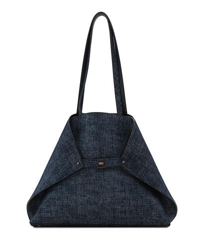 Ai Medium Reversible Shoulder Bag, Dark Blue