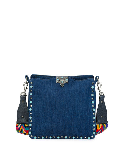 Rockstud Rolling Medium Flip-Lock Hobo Bag, Denim/Multi