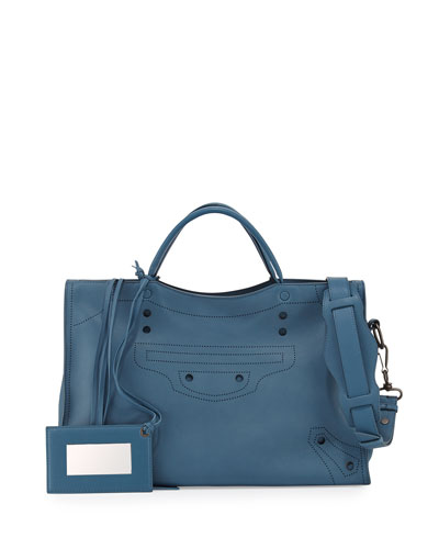 Blackout City AJ Shoulder Bag, Blue (Bleu Canard)