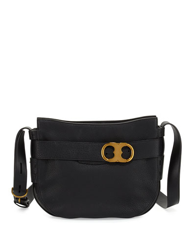 Gemini Link Small Belted Hobo Bag, Black