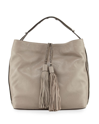 Isobel Leather Hobo Bag, Mushroom