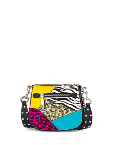 Nomad Small Punk Patchwork Saddle Bag, Black/Multi
