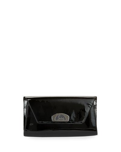 Vero Dodat Flap Patent Clutch Bag, Black