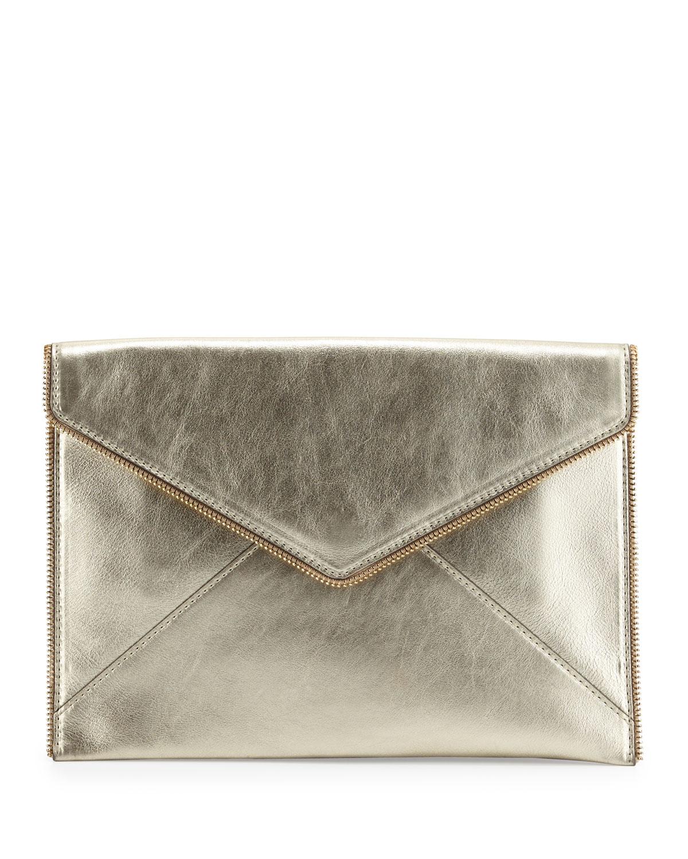 Leo Metallic Envelope Clutch Bag, Metallic Gold