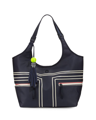 Coated Bucket Tennis Tote Bag, Blue